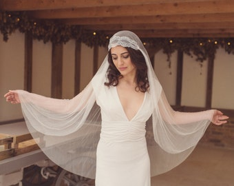 Pure silk tulle Juliet cap veil, wedding veil, boho veil, lace veil, 1920s veil, Kate Moss veil, Juliet veil, cap veil, chapel - 'ANGEL'