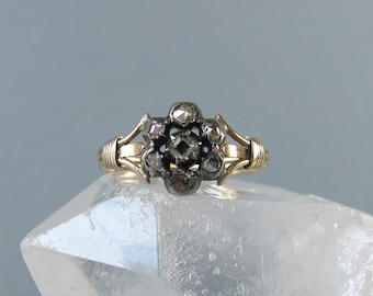 GEORGIAN era antique diamond cluster ring, rose cut and table cut diamond antique engagement ring, silver over gold collet set diamond ring.