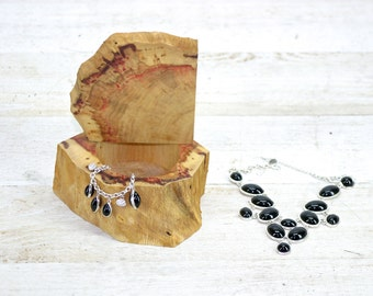 Wooden Box Flaming Red Box Elder Jewelry Organizer Live Edge