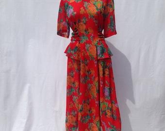 Vintage bright floral dress