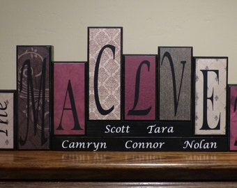 home decor blocks family name letters home decor custom gift idea mantel wood family name block sign living room house decor wedding
