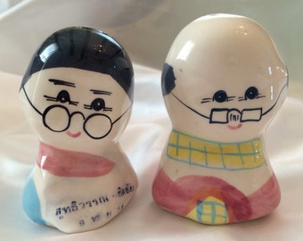 Cute 1980's Old Couple Salt & Pepper Shakers, Never Used