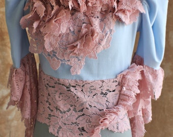 Victorian Lace Blouse with Shipwrecked Floral Ruffles & Buds xs, s, m, l, xl