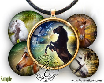 """Great collection of Horses printable bottle cap images - 1'' circles, 25mm, 30mm, 1.25"""", 1.5"""" for Jewelry Making, BUY 2 GET 1 FREE"""