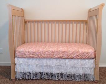 Coral Baby Bedding - Custom Baby Bedding - Baby Crib Bedding - Baby Bedding - Lace Bedding - Custom Crib Bedding - Baby Crib Sets - Crib Set