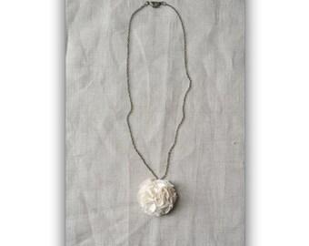 Ivory Pom Pom Necklace with Bronze Chain