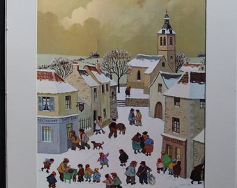 Jean Axatard Vintage Folk Art Reproduction, Mounted and Matted