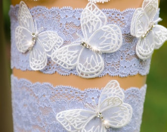 Butterfly Bridal Garter, Light Blue Lace Bridal Garter, Something Blue Garter, Rhinestone Wedding Garter, Bling Garter-CHARLIE GARTER SET