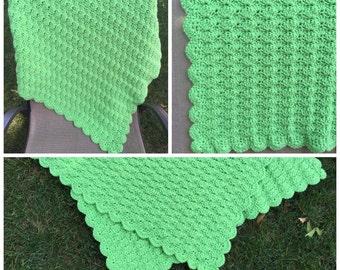 Green Shell Crochet Baby Blanket