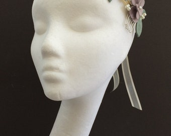 Lilac Flower Wedding Crown, Floral Crown, Purple Bridal Flower Crown, Beaded Wedding Headband, Purple Flowers, 1970's Style Flower Wreath
