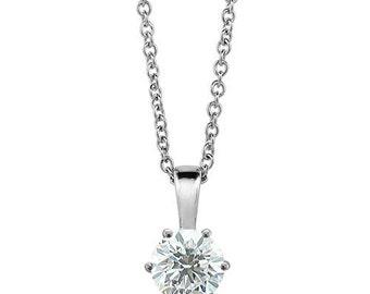 0.50ct Tiffany Moissanite Pendant, Tiffany Pendant Style, Moissanite necklace, diamond solitaire necklace, solitaire necklace, moissanite