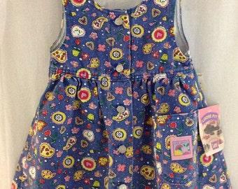 NOS Toddler Denim Dress, 80s Lee Jean Jumper Dress, Sleeveless Cotton Jean Jumper, Hearts and Flowers, Size 2T