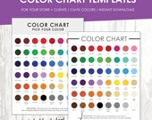 Color Chart, Color Chart Template, Color Palette, Instant Download, Colour Samples, Store Supply