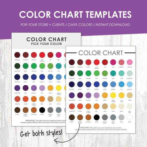 Color Chart Color Chart Template Color Palette Instant Download
