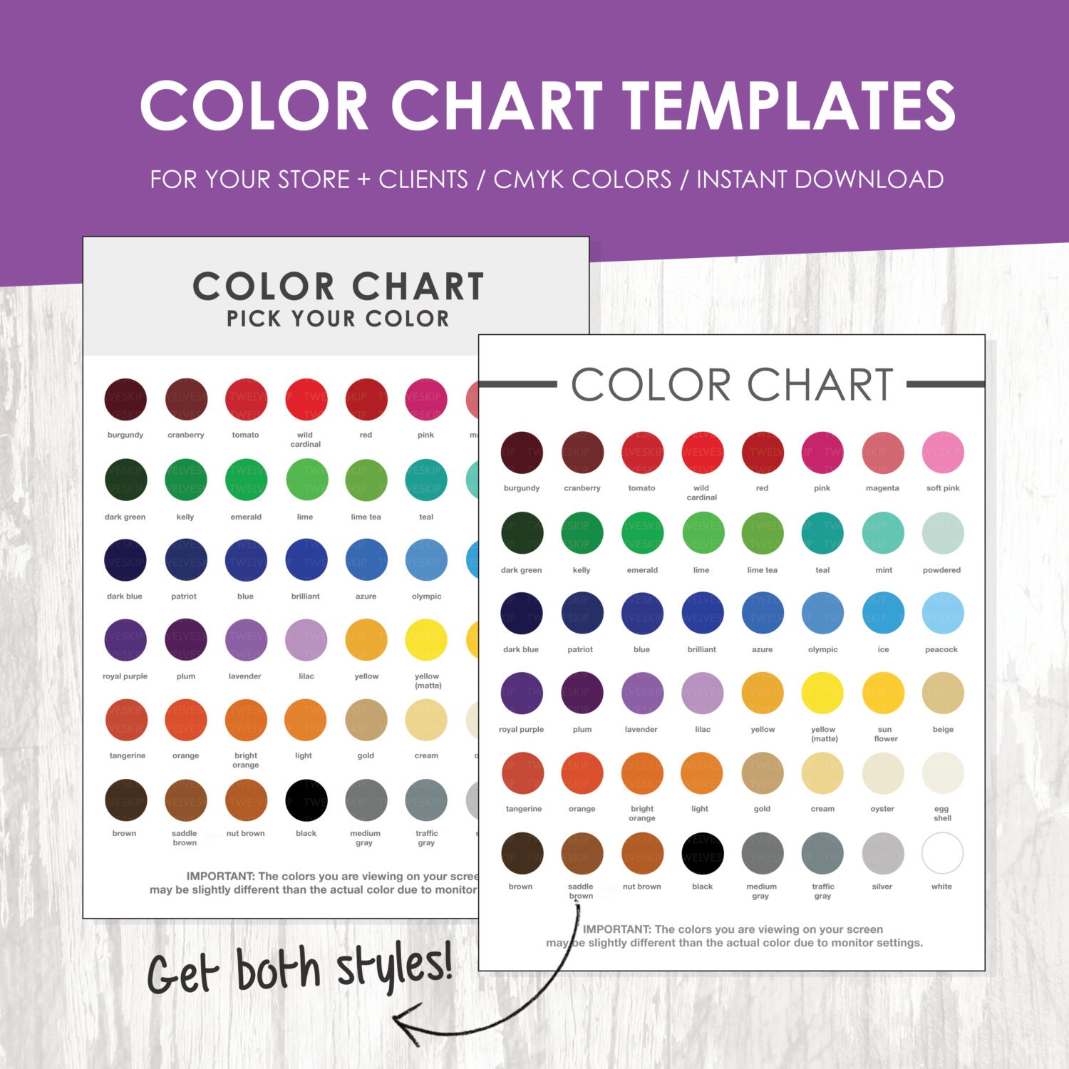 Color Chart Color Chart Template Color Palette Instant Download – Color Chart Template