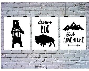 Tribal Nursery, 3 Piece Wall Art, Tribal Nursery Wall Art, Tribal Nursery Art, Instant Download, Tribal Wall Art, Tribal Bedroom, Bear Art