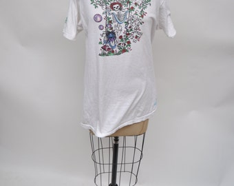 vintage tshirt GRATEFUL DEAD  t-shirt 1980s skeleton oversized boyfriend fit