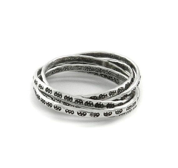 sterling silver interlocking ring 5 sted silver by