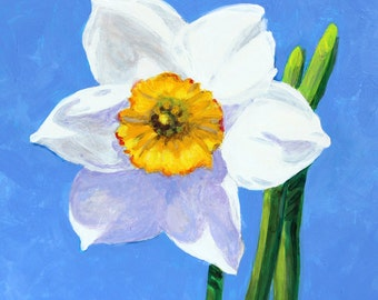 "Narcissus Bloom Original Botanical Painting Acrylic on Board 4""x4"""