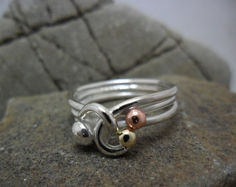 Ring sterling silver with yellow gold and copper wire