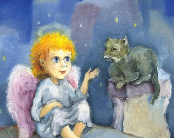 Guardian Angel print Angel painting Kid's Art Nursery Decor Wall Hanging Art for children Angel poster Angel and cat Art for baby room