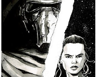 STAR WARS - The Force Awakens - Kylo Ren and Rey A3 original ink drawing