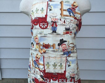Kids Apron, Child Apron, Kitchen Apron, Kids Bib, Cowboy Apron