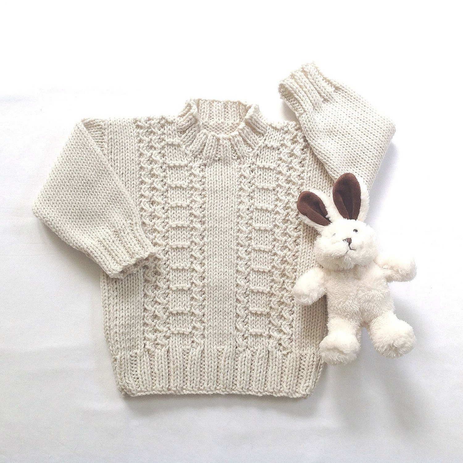 Knitting Pattern Cardigan For 18 Months : Aran baby sweater 12 to 18 months Knit Aran jumper Baby