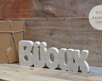 Bijoux Wood PuzzleLetters Handmade Cutting  - Hand Cut Wooden Puzzle, Free Standing Letter