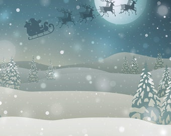 Christmas Backdrop - Santa Claus Over The Moon With Reindeer Backdrop (FD9082)