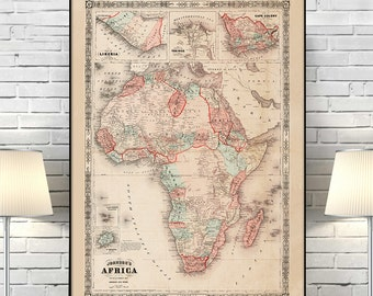 "Map of Africa 1864, Vintage Africa map reprint - 4 large/XL sizes up to 36"" x 48"""