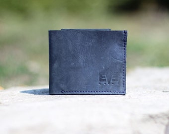Small wallet from genuine leather, handmade wallet for men, LB1010 Blue