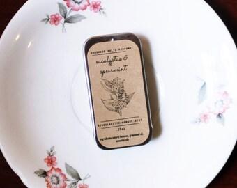 eucalyptus spearmint solid perfume // stress relief // beeswax solid perfume // essential oil perfume // travel perfume // .25oz tin