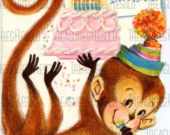Happy Birthday Monkey With Brithday Cake Childs Birthday Card #65 Digital Download