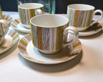 "Midwinter Ltd ""Sienna"" Cup & Saucer sets Set of 5  Jesse Tait design, Fine, Black Lines, Green, Orange Panels, from the 1960s"