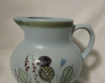 Hand Painted Pitcher, Pale Blue, Thistles and Flowers, Buchan Stoneware, Scotland