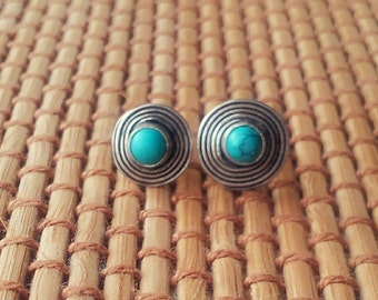 Turquoise Stud Earring Silver Stud Earring Stone Stud Gemstone Stud 8 mm Minimal Stud Earring Gift