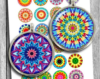 "Colorful Mandala Printable Download 1.5"" 1""  Circle Images for Cabochons, Bottle caps, Pendants Digital Collage Sheet Instant Download"