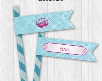 The Little Mermaid Straw Flags