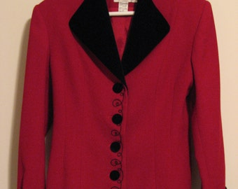 REDUCED!!! Womens Size 8  Wool and Velvet Jacket, Like New!, Red and Black, Gantos 100% Wool, Vintage, FREE SHIPPING