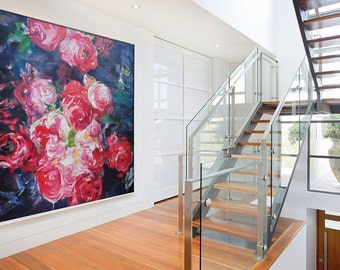 Abstract flower Oil Painting On Canvas, Original Art, Impressionist Landscape Painting.