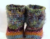 Boho Baby Boots - Furry Baby Mukluks - Infant Slipper Boots - Warm Baby Shoes -