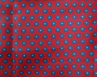 Vintage red rayon acetate fabric remnant