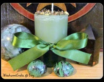 EARTH TOWER - Scented Pillar Candle - North Element - Lemongrass Kiwi - Pagan Wicca - Wiccan Witch - Ritual Witchcraft - Altar Shrine