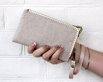 iPhone 7 Wristlet Wallet Phone Case Linen Fabric Case Leather strap iPhone 6 Plus Wallet case, gift ideas for women iPhone 6 Gifts for her