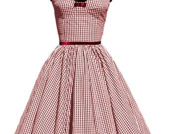 CHERRY red and white Vichy dress,knee length, midi length, full skirt,bustier dress