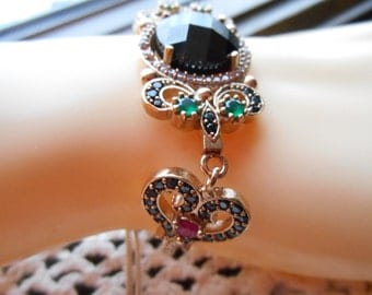 Art Deco 3.50ctw Black Onyx, Ruby, Emerald & White Sapphire Rose Gold Gilding/925 Sterling Silver Bracelet Adjustable 5-7.5 IN 19.4g