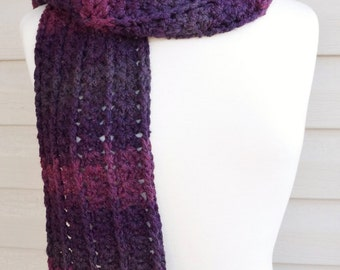 Crochet Super Long Soft Scarf in Multi Tone Purples for Fall or Winter