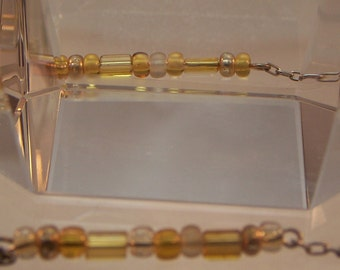 Beaded Anklet on Sterling Silver Chain, Pink and Purple or Amber and Gold, Yellow Jewelry, Gifts, Women, Teen Girls, Anklets, Ankle Bracelet