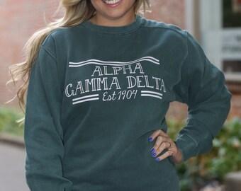 Alpha Gamma Delta Comfort Color Crewneck Sweatshirt - AGD Letter Shirt - Comfort Color Oversized Shirt